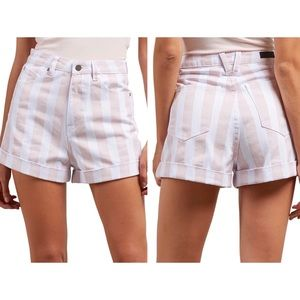Volcom NWT light pink striped high waisted shorts